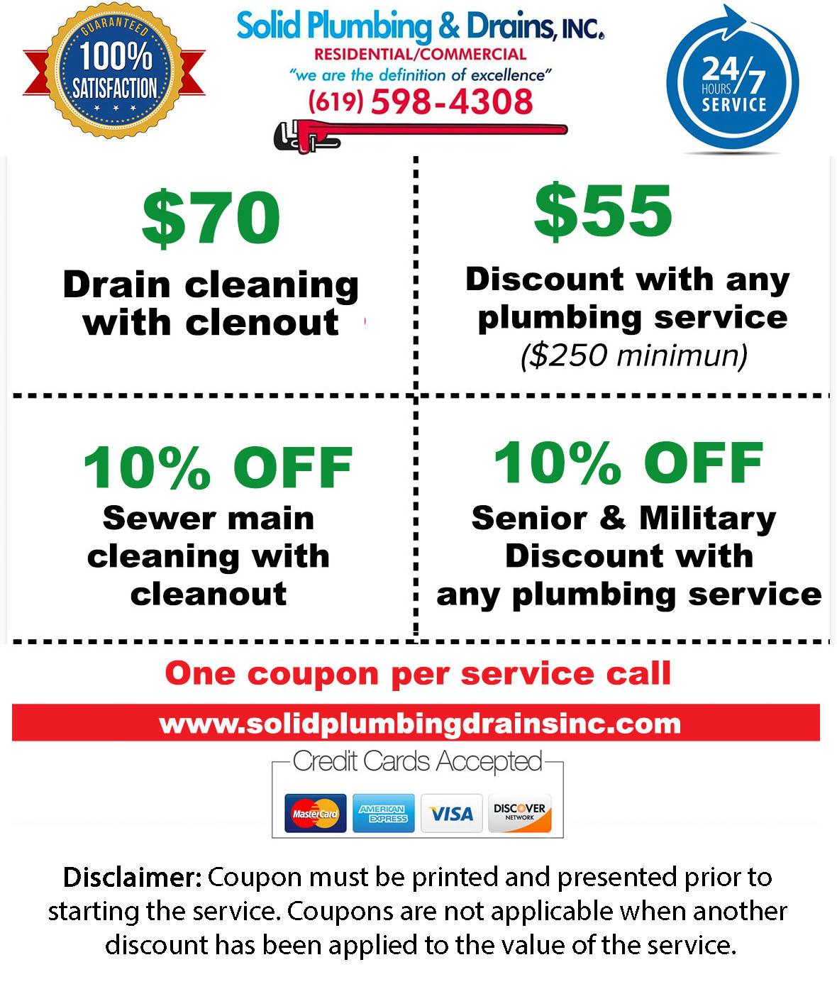 coupon plumbing service